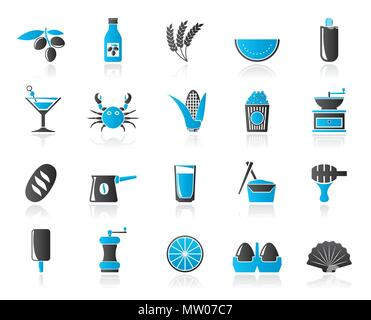 Different kind of food and drinks icons 3 - vector icon set - Stock Photo