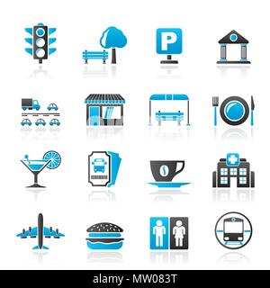 Urban and city elements icons - vector icon set - Stock Photo
