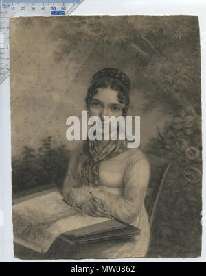 . English: Portrait of an Artistic Lady sitting in a garden, with what appears to be a portfolio-case on her lap, drawing a picture of a tree; subject not identified, but might be identifiable. French school, Empire style, Napoleonic era (N I); circa 1810. Unsigned, artist not (definitely) identified, dealer attribution to Jean-Jacques Karpff (a.k.a. 'Kasimir') 1770-1829. Charcoal drawing on laid paper with matermarks; the drawing appears to have been cut down from its original size. Note that the paper was not cut on the square, & its shape is slightly irregular. Wittig collection, item 51; o - Stock Photo