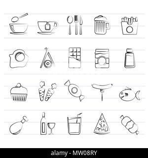 Different kind of food and drinks icons 1 - vector icon set - Stock Photo