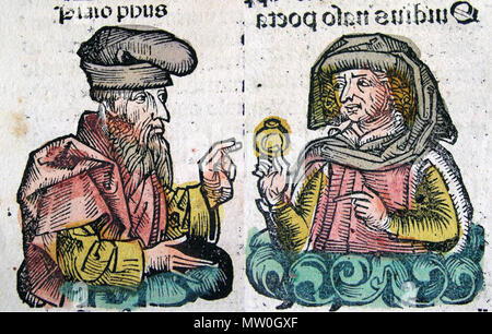 . Publius Ovidius Naso and Plato in the Nuremberg Chronicle, also known as the Liber Chronicarum The Morse Library of the Benoit College has a very strict license for the use of images from the book [1]. Despite this, it could well be argued that images from this book is in the public domain since it was published before 1922. . Hartmann Schedel 488 Plato and Ovid (together) - Stock Photo