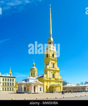 SAINT PETERSBURG, RUSSIA - APRIL 27, 2015: The beautiful high Peter and Paul Cathedral is the most notable landmark of the city, located in Peter and  - Stock Photo
