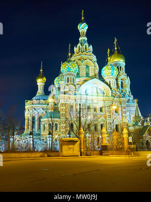 Church of the Savior on Spilled Blood is the symbol of Russian architectural style and the most remarkable landmark of Saint Petersburg, Russia - Stock Photo