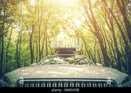 Vacation Road Trip with Cargo Roof Container on the Vehicle. Driving Through The Summer Forest. - Stock Photo