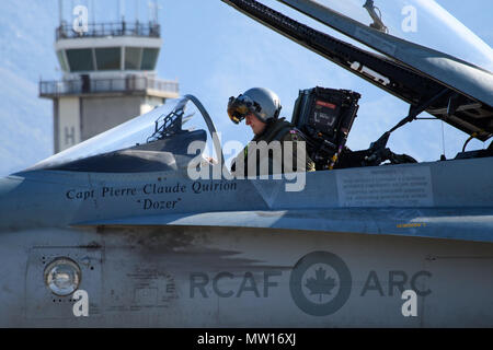 Royal Canadian Air Force pilot Capt. Jason Bern, assigned to the 433rd Tactical Fighter Squadron, prepares for flight May 3, 2018, Hill Air Force Base, Utah. The Canadian unit participated in a Weapons Evaluation Systems Program, or WSEP, conducted by the 86th Fighter Weapons Sqaudron, a Hill tenant unit. (U.S. Air Force photo by R. Nial Bradshaw) - Stock Photo