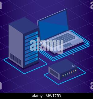 digital technology isometrics icons - Stock Photo