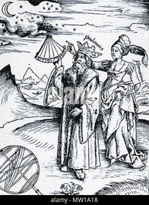 . English: Sixteenth century engraving of Claudius Ptolemy (AD c100-170) being guided by the muse Astronomy - Margarita Philosophica by Gregor Reisch, published in 1508. 28 June 2011. TraditionaL aSTROLOGER 505 Ptolemy urania - Stock Photo