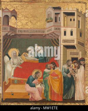 . The Birth, Naming, and Circumcision of Saint John the Baptist  . circa 1335  593 The Birth, Naming, and Circumcision of Saint John the Baptist A16931 - Stock Photo