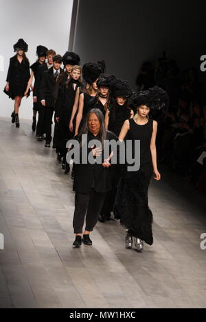 John Rocha Autumn Winter Collection, John Rocha takes a walk on the runway with the models at the end of his show during London Fashion Week at the Somerset House venue in London, Saturday 19th  February 2011 - Stock Photo