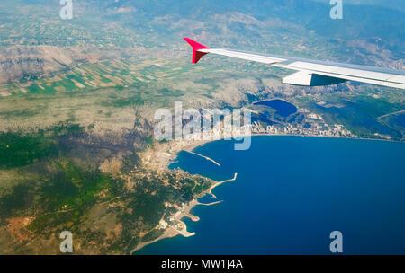 View from the plane, Adriatic coast near Shëngjin, Shengjin, Albania - Stock Photo