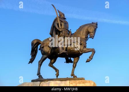 Skanderbeg Monument, equestrian statue Skënderbej, Albanian national hero Skanderbeg, Skanderbeg Square, Tirana, Albania - Stock Photo