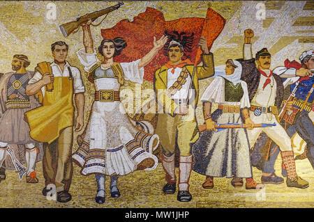 Mosaic Shqiptarët at the National Museum of History, Muzeu Historik Kombëtar, Skanderbeg Square, Tirana, Albania - Stock Photo