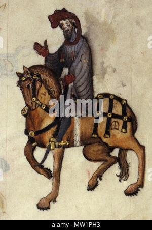 . English: The Knight in the Ellesmere manuscript of Geoffrey Chaucer's Canterbury Tales. 20 December 2013, 13:47:25. Anonymous 596 The Knight - Ellesmere Chaucer - Stock Photo