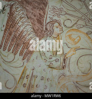 Annunciation, the archangel Gabriel visits Virgin Mary, a medieval gothic fresco in Bronnestad church, Sweden, May 11, 2018 - Stock Photo