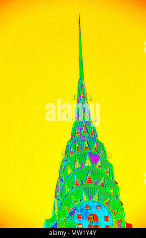 Chrysler Building, the stainless steel summit or Art Deco crown and spire (rendered in PS, pop art), by William Van Alen (1928-30), New York, NY, USA - Stock Photo