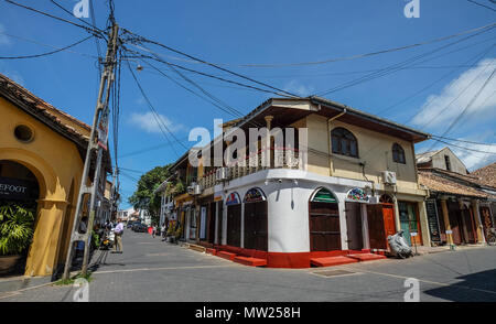 Galle, Sri Lanka - Sep 9, 2015. Old houses at ancient township in Galle, Sri Lanka. Galle was the main port on the island in the 16th century. - Stock Photo