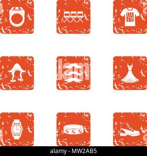 Contemporary person icons set, grunge style - Stock Photo