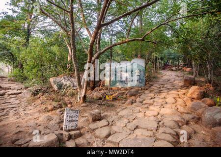 Arunachala, Tiruvannamalai, Tamil Nadu in India, January 24, 2018: Sri Ramana Maharisi welcome desk, Arunachala mountain entrance - Stock Photo