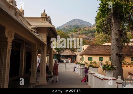 Arunachala, Tiruvannamalai, Tamil Nadu in India, January 24, 2018: Sri Ramana Maharshi Ashram - Stock Photo