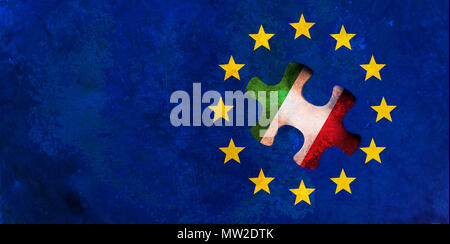 Italy and EU relations, Italexit concept. European Union flag with Italy flag puzzle piece out. 3d illustration - Stock Photo