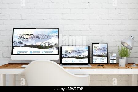 multidevice desktop with responsive website on screens. 3d rendering. - Stock Photo
