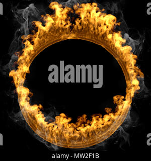 3d rendering fire frame circle isolated over black and smoke background - Stock Photo