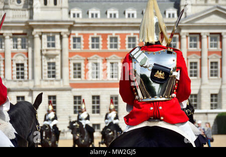 London, England, UK. Morning Changing of the guard on Horse Guards Parade - Life Guards - Stock Photo