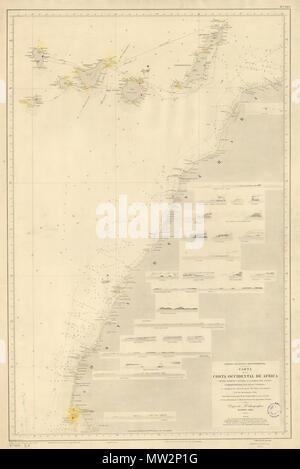 . English: Map detailing the coastline of colonial Spanish Sahara in 1896. Español: Mapa detallando la costa del entonces Sáhara Español en 1896. 15 April 2009, 18:49:24. Depósito Hidrográfico, Madrid, 1896 (L. Galvan la grabó, S. Bregante la letra) 144 CostaAOE1896g - Stock Photo