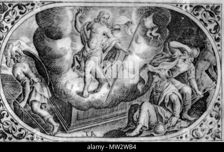 690 Уваскрэсенне. Медзярыт Аляксандра Тарасевіча з кнігі «Rosarium et officium B. V. M.» Vilno. Каля1679 г - Stock Photo