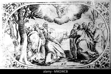 690 Унебаўшэсце. Медзярыт Аляксандра Тарасевіча з кнігі «Rosarium et officium B. V. M.» Vilno. Каля 1679 г. - Stock Photo