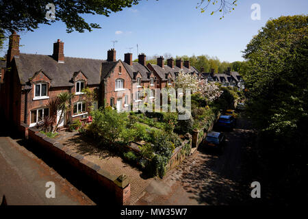 Sunny day at Cheshire East market town Sandbach, Sandbach, Pretty town centre red brick housing stock cottages  on Front Street - Stock Photo