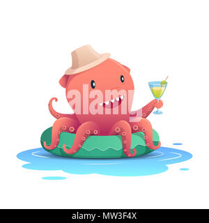 Cute red octopus holding a cocktail summer drink glass on the green inflatable swim ring, summer holiday concept. Vector illustration - Stock Photo