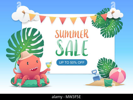 Cute red octopus with festival bunting ribbons hanging on the green exotic palm leaves and tropical plants. Vector illustration - Stock Photo
