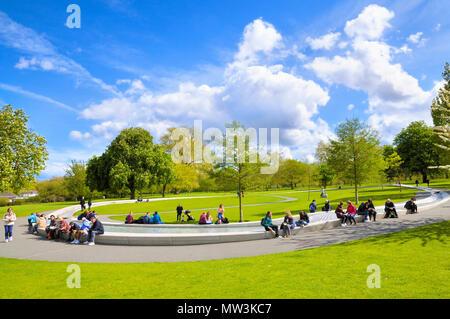 Princess Diana Memorial Fountain in Hyde Park, London, England, UK - Stock Photo