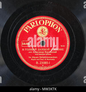. English: Vertinsky Parlophone B.23085 01 . 10 November 2012, 15:04:02. Parlophone 629 Vertinsky Parlophone B.23085 01 - Stock Photo