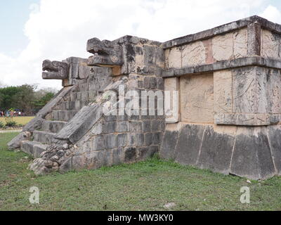 Wonderful ancient ruins of platform of Eagles and Jaguars building at Chichen Itza city in Mexico on February - Stock Photo
