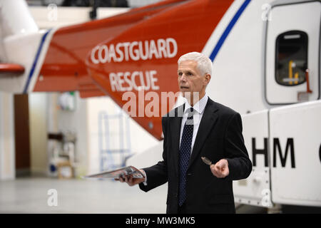 Sir Alan Massey at Sumburgh airport at the naming of the coastguard helicopter to it's familiar old call sign oscar charlie - Stock Photo