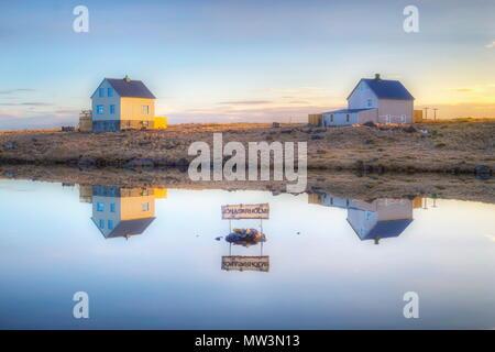 Jonasarholmi houses in Raufarhofn (Iceland). - Stock Photo