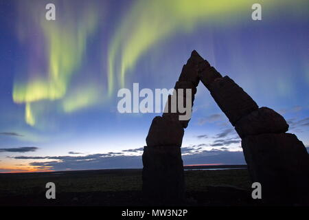 Northen ligths at The Arctic Henge (Raufarhofn, Iceland) - Stock Photo