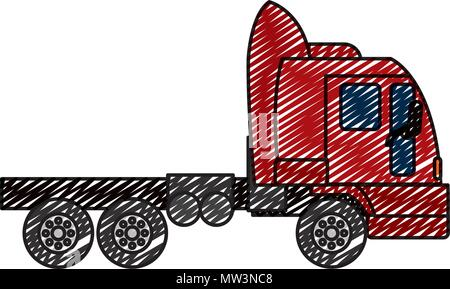 doodle side truck transport service vehicle - Stock Photo