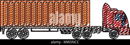 doodle side truck transport with container cargo - Stock Photo