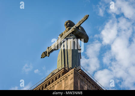 Mother Armenia monument overlooking Yerevan in Victory park - Stock Photo