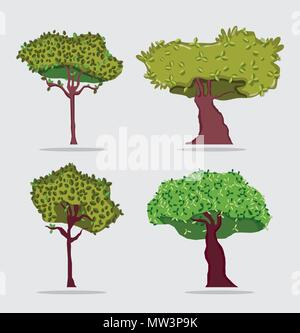 Set of trees icons - Stock Photo
