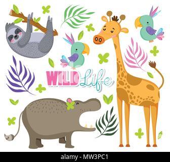 Cute wildlife animals - Stock Photo
