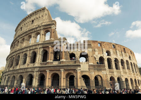 ROME, ITALY, MARCH 27, 2016: Horizontal picture of amazing architecture Coliseum, important landmark of Rome, Italy - Stock Photo