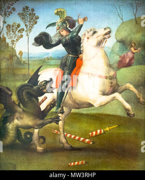 St. George and the Dragon by Raphael (Urbino 1483 - Roma 1520), - Stock Photo