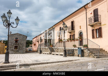 The picturesque street and square in Sant'Antonio Di Gallura, Sardinia - Stock Photo