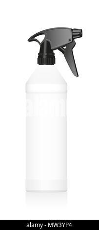 Spray bottle. Blank unlabeled white plastic tube with black sprayer - illustration on white background. - Stock Photo