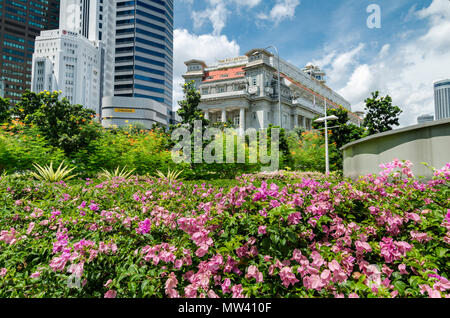 The Fullerton Hotel is a 5 star hotel located in the Downtown Core of Singapore. It was formerly known as The General Post Office Building. - Stock Photo
