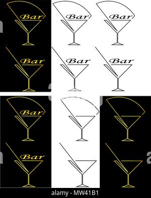 silhouette of the glass from the contours cocktail bar minimalist logo - Stock Photo